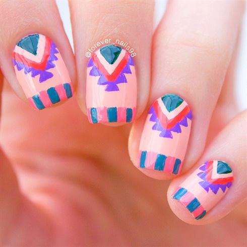 Spring Aztec Nail Art