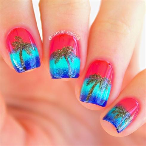 Summer Sunset Nail Art
