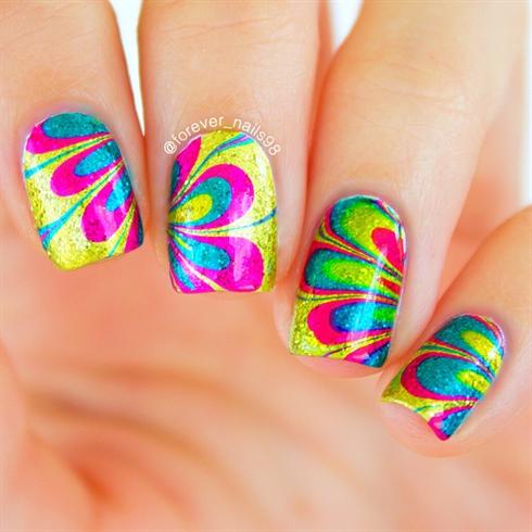 Rainbow water marble nails nail art gallery rainbow water marble nails prinsesfo Image collections