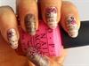 stamping nail art écritures à fleurs ros