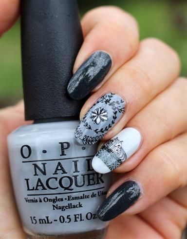stamping nail art matins gris, moyou - Nail Art Gallery