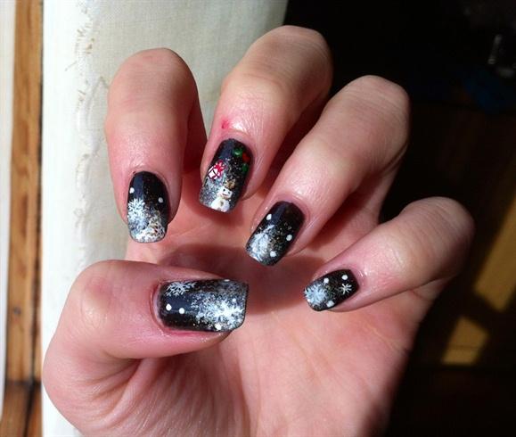 christmas black nail - Black Christmas Nails