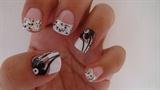 black flowers nail art design