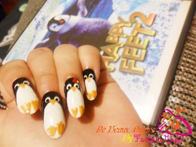 Happy Feet Penguin Nails