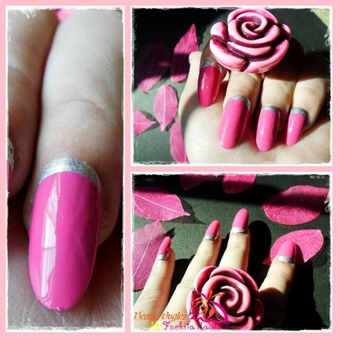 Ruffian Manicure (Pink &Sliver)
