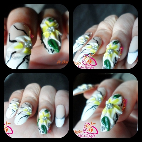 Acrylic Flower  on french nails