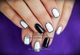 Black and White Shellac elegant nails