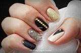 Black & Nude studded Gelish nails