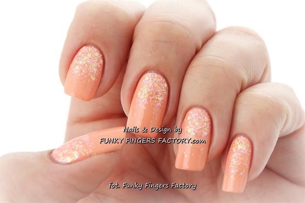 Peach Glitter Ombre nails