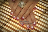 Shellac White & Pink Glitter Ombre nails