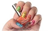 Rainbow nails with Black & White Glitter