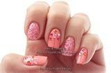 Peach Pink Glitter nails