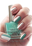 Mint and Peach Retro Striped nails