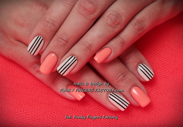 Gelish Neons and Stripes nails
