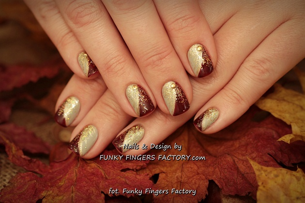 Gelish Autumn Nails with Glitters, Studs