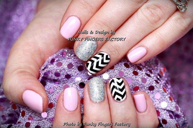 Gelish Pale Pink Zig Zag nails