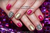 Gelish Fuchsia and Gold Zig Zag nails
