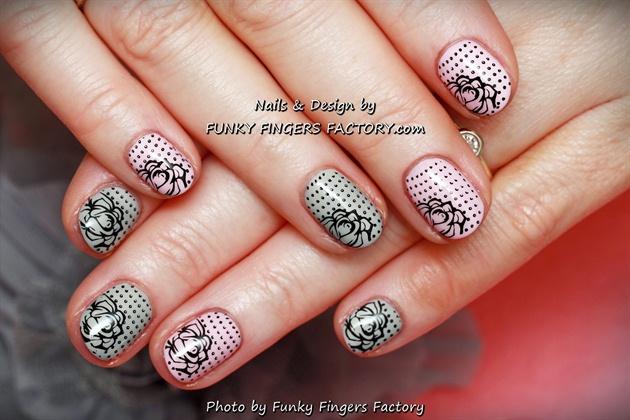 Gelish Pink and Grey Retro Roses nails