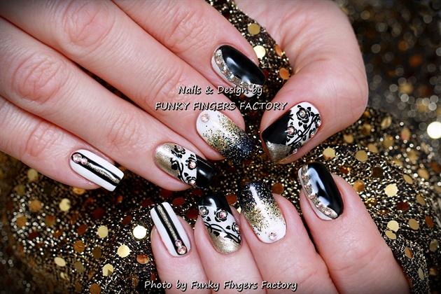 Gelish Black White Gold Nails Swarovski Nail Art Gallery