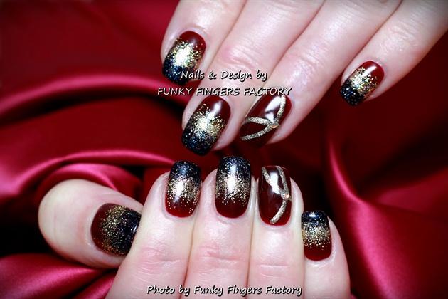 Gelish Burgundy Gold Festive nails