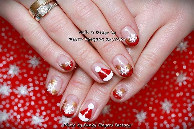 Gelish Red Christmas Glitter French Mani