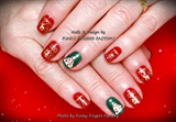 Gelish Red Gold Green Christmas nails