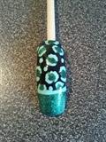 turquoise glitter pigment leopard print