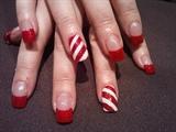 candy cane xmas nails :)
