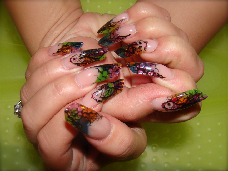 Edge Acrylic nails with koi - Nail Art Gallery