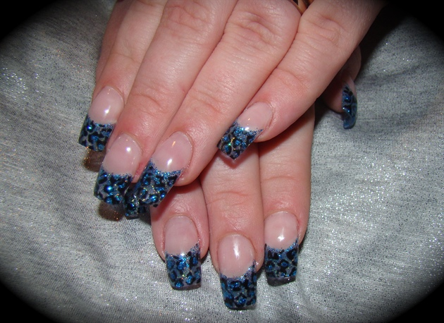 Blue Cheetah Nails Square