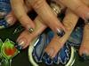 blue glitter gel with mylar pieces