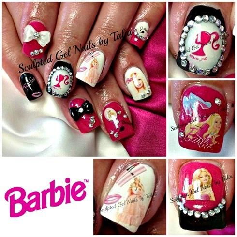 Barbie nail art nail art gallery barbie nail art prinsesfo Choice Image