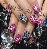 Pink zebra nails!!