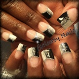 Black/White glitter french