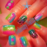 Neon Spring Cheetah Nails