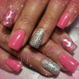 Pink Silver Chevron