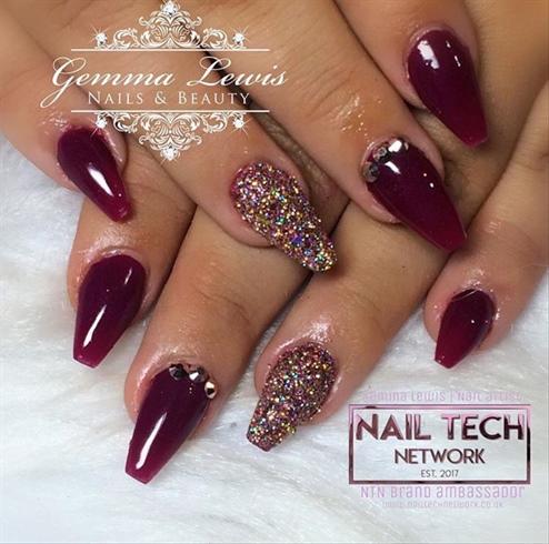 Burgundy Glitter Nails Nail Art Gallery