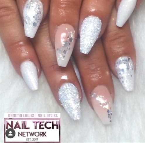 Ice White Glitter Nails