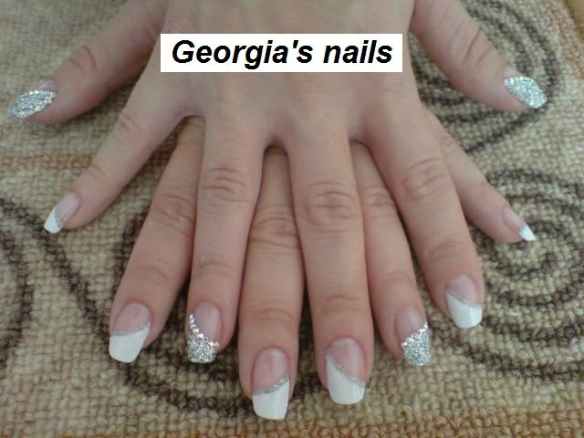 French Manicure(Swarovski) - Nail Art Gallery