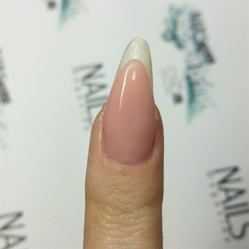 Using the reverse technique, I made my extended nail bed using a cover pink.