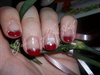 Red & Silver French Nail Art