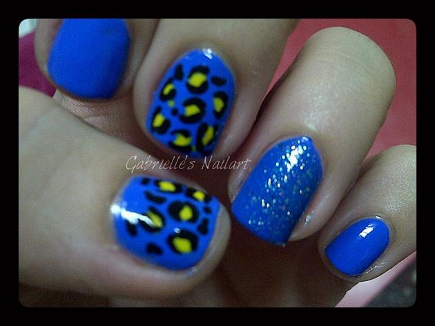 Blue and yellow cheetah print