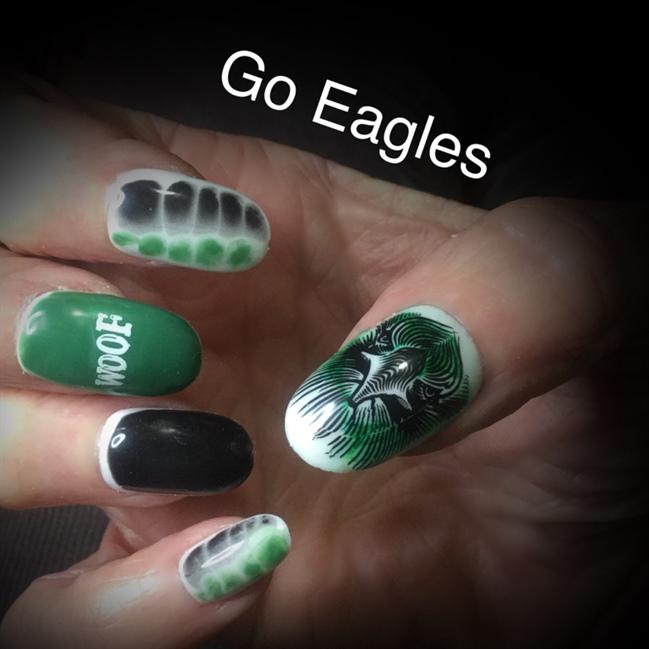 Nail art gallery green and black nail art photos go eagles prinsesfo Gallery