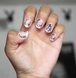 white tip, black flower and balck dots