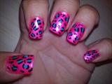 hot pink leopard print barbie nails :)
