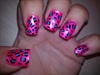 hot pink leopard print barbie nails :)
