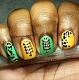 Leopard Nails & Studs Nails