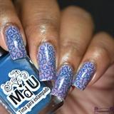 Blue Swirls Stamping Nail Art