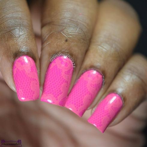Pink Monochromatic Stamping