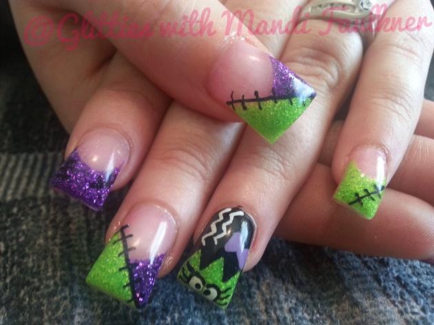 Bride Of Frankenstein Glitter Nails